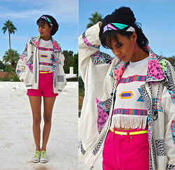 Luna Nova - Vintage Neon Jacket, Thrifted & Friend Diy Neon Tribal Crop Top, Vintage High Waist Shorts, Thrifted + Neon Laces Sneakers - Fresh.