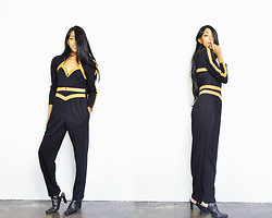 Crystal Wood - She Tiger Vintage Futuristic Graphic Jumpsuit, Black Cut Out Booties - SHETIGER: Spotted, Ghost Haze.