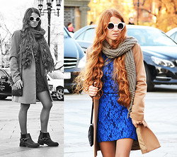 Zhanna Kurzeneva - Mango Coat, Mango Dress, Asos Boots, Mango Shoulder Bag, Asos Sunglasses - Mercedes-Benz Fashion Week Russia: Day 5