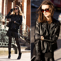 Anouska Proetta Brandon - Jovonnista Leather Jacket, Zara Dress, Calzedonia Tights, Guess? Watch - Golden.