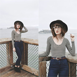 Kiana Mc - Urban Outfitters Pants, Vintage Hat, American Apparel Bodysuit - SF Stripes
