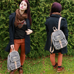 Eveline P - Enrico Benetti Bag, H&M Coat, Vero Moda Top, New Look Jeans - Violet hair!