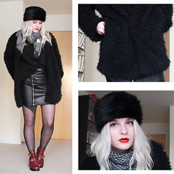 Robyn Mayday - Missguided Shearling Coat, Missguided Cut Out Boots, Missguided Asymmetric Skirt, New Look Cossack Hat - Fur and Fluff
