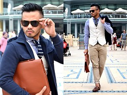 Paul Ramos - H&M Tortoise Shell Sunnies, H&M Military Inspired Jacket, American Eagle Outfitters Knitted Stripe Tie, New Look Dress Shirt, Zara Waist Coat, H&M Khaki Pants, Splash Fashions Murse/ Menvelope, Iconic Store Crocodile Tassel Loafers - The Style Choreo