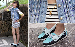 Bea Benedicto - Dreambig Shop Striped Dress, Angel Strings B Necklace, Sebago Boat Shoes - Big B