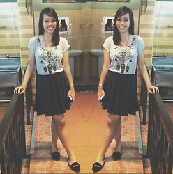 Alyanna Eugenio - Black Skater Skirt, Grey Bohemian Crop Top, Forever 21 Dream Catcher Necklace - Grey-Black, Laid Back