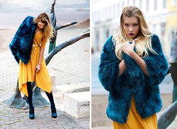 Dora D. - J & L Paris Cobalt Blue Faux Fur Coat, Ocher Oversized Dress, Buffalo Cobalt Blue Shoes - COBALT BLUE, AND OCHER YELLOW