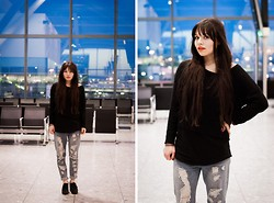Jane S. - H&M Jumper, Asos Top, Romwe Boyfriend Jeans, Asos Shoes - Listening to a great song for the very first time