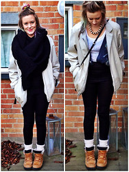 Louise Christiansen - Homemade Scarf, H&M Gold Necklace, Thrift Store Vintage Jacket, H&M White Top, H&M Top Underneath  , Thrift Store Vintage Jacket, Gina Tricot Black Shiny Leggings, H&M Knee High Socks, Unknown Last Years Winter Boots - ¤ My Lovely Big Scarf #2 ¤