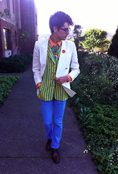 Jake Gonnella - Louis Feraud Striped Long Vest, Levi's® Sky Blue Skinny Jeans - Only a Northern Song