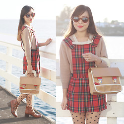 Toshiko S. - Sunglass Warehouse Brown And Clear Ombre Sunglasses, Talbott Of Lanastan Vintage Mohair Bow Sweater, Hearts & Bows Tartan Pinafore Playsuit, Oasap Colorblock Satchel, Forever 21 Polkadot Tights, Topshop Anna Buckle Strap Leather Boots - Time for Tartan