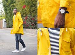 Roderick Hunt - Simon Miller M003 Coast Rinse, Timex Weekender, Steven Alan Winston Fishtail Parka, Muji Striped Tee - Rainy Day Uniform