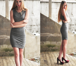 Martine Fimland - Bik Bok Grey Dress, Forever 21 Arrow Necklace - Some saw the sun, some saw the smoke