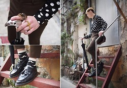 Edward Poon - Dot, Uniqlo Ankle Length Chino Pants, Zara Eagle Umbrella, Dr. Martens Shoes - Tells a strong story