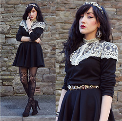 Charlotte Ophelia - Dolce & Gabbana Diy Headband, Accesorize Baroque Earrings, New Look Ring, Oasap Lace Top, Diy Baroque Lace Belt, Miss Selfridge Skirt, Claires Tights, New Look Heels - SEMPER FI