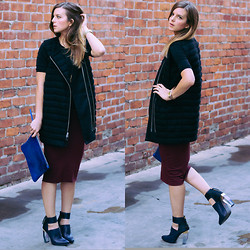 Michelle Madsen - All Saints Vest, Irene's Story Skirt, Miista Heels - NEW MIISTAS