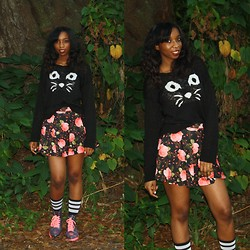 Alexa C - Delias Cat Face Sweater, Floral Print Skater Skirt, Forever 21 See Through Combat Boots - Meow
