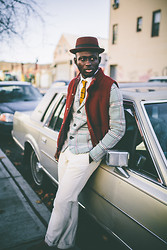 STEVEN ONOJA - Bailey Fedora Hat, Revolution Now Vest, J. Crew Pants, Revolution Now Blazer, Zara White Sleeves - 70's