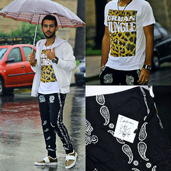 Khalil Alaoui - Dadawan Urban Jungle T Shirt, Zealotries Aatto Pant, Zara Sweater, Puma Sneak - Feeling Hot In a Rainy Day