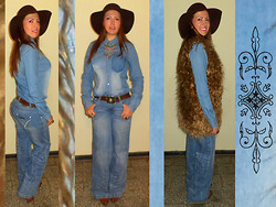 Avalon Blue - H&M Shirt, Newplay Jeans, Zara Belt, Bsk Hat, Harlem Boots, Vince Camuto Jewelry, Deluxe Ateliere Fur Vest - 263