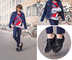 Judas Lee - Frontrowshop Front Row Shop Color Block Striped Top, Dr. Martens Pony Hair Oxfords, Cheap Monday Navy Blue Skinny Jeans, Nike Sweatshirt, Vintage Navy Blue Denim Jacket - COMFY