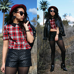 Kimberly Anne S. - H&M Bowler Hat, Pink Zone Plaid Dress, Forever 21 Quilted Pleather Shorts, Zara Cut Out Booties - Plaids and Fake Palm Trees