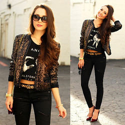 Jessica R. - Juicy Couture Chocolate Sequin Jacket, Juicy Couture Leopard Belt, Dailylook Bb Dakota Zoey Zip Crop, Dailylook La Crop Top - She Took My Heart and She Took My Money