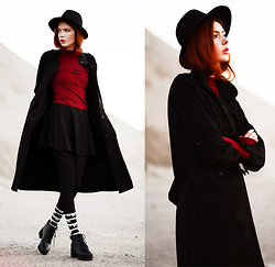 Ebba Zingmark - Frontrowshop Long Coat, Frontrowshop Turtleneck Top, Frontrowshop Socks, Choies Skirt, Shellys London Boots, Cubus Hat - Anything Could Happen