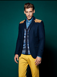 Eric M - Zara Yellow Slim Fit Jeans, George Navy Blazer, American Apparel Winter Blue Sweater - Fall of 2013 - November