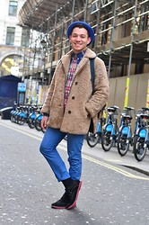 Phoenix Martinez - H&M Chinos, Ben Sherman Checked Shirt, Brixton Village Sheep Skin Coat, Camden Market Bowler Hat - Ready for the winter mate?