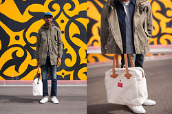 Roderick Hunt - Undefeated Dot Cap, H&M Military Drop Tail Parka, Filson Red Label Zip Tote, J. Crew Broken In Tee - Light Layers
