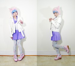 Lovely Blasphemy - Unif Spiked Moto Jacket   White, Bodyline Seifuku, Angelic Pretty Dream Sky Tights, Angelic Pretty Sweet Whipped Shoes - Pastel