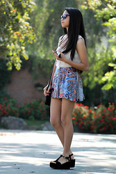 Pamela + Dami - Rag & Bone Top, Pull & Bear Tribal Printed Skort, Sarkany Black Wedges, Firmoo Sunglasses - It started with a whisper