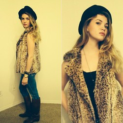 Abbie Jeane - Zara Cheetah Fur Vest, Vintage Italian Leather Boots, Replay Destroyied Skinny Denim, Target Fedora, Celsior Golden Watch - Sultry Funk