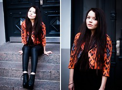 Jane S. - Topshop Jacket, Asos Top, Zara Leather Pants, Jeffrey Campbell Wedges - First drop of tears
