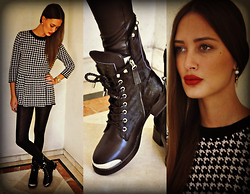Amina Allam - Cozbest Earrings, Cozbest Houndstooth Peplum Top, Topshop Leggings, Choies Studded Leather Booties - Houndstooth & studs