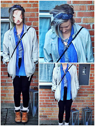 Louise Christiansen - Headband (Actually It's Leggings!!), Vintage Granny Jacket, Gina Tricot Cross Necklace, Blue Vintage Shirt, H&M Grey Basic Top From, Gina Tricot Black Shiny Leggings!, H&M White Knee High Socks  H&M, Last Years Winter Boots, ((((Just A Little Shoulder Bag)))) - ¤ Nothing to say #2 ¤