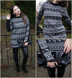 Dalia Fashion - Made By Me Deer Sweater Dress, Zara Biker Leggings, Bershka Boots, Made By Me Clutch - Deer Sweater Dress
