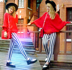 Chanssy X. - Topshop Black Felt Fedora, Topshop Dolman Sleeved Jumper, Choies Red Rivet Two Ways Bag, Pointed Vintage Shoes, Forever 21 Black & White Stripes Leggings - ~★ Red Dolman Sleeves ★~