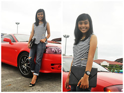 Trixia Tanedo - Mags Peplum Top, Levi's® Boyfriend Jeans, Sm Accessories Envelope Clutch, Sketchers Time Watch - Laidback Socialite