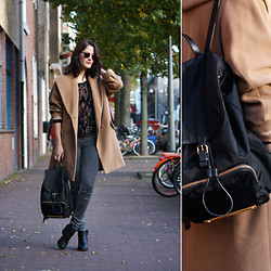 Renée Sturme - Ashley Brooke Camel Coat, Selected Femme Silk Snake Blouse, Marc By Jacobs Backpack - Camel
