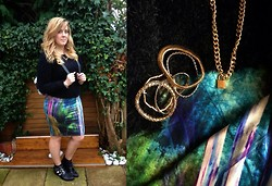 Kayleigh Jean - Topshop Body Con Skirt, Fluffy 90's Jumper, Unknown Studded Pixie Boots, H&M Set Of Bracelets, Topshop Chunky Chain &Padlock Necklace - Gold details