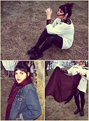 Taylor Morgan - Diy Worn White Sweater, Thrifted Black Lace Bodysuit, Gloss Black Faux Leather Leggings, Tuk Black Platform Creepers, Divided Mauve Shroud Scarf, Thrifted Denim Blazer Jacket - Harmless Monster