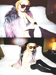 Rachel Lynch - Wildfox Couture Mirror Aviators, Chaser Dip Dye Fur Coat, Nasty Gal White Cage Bodysuit, Nasty Gal Silver Body Chain, Sequin Silver Arm Cuff, Nasty Gal Black Hat - Jewels n' drugs