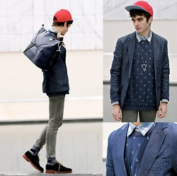 "Matthias C. - Furla Bag, Cap, Selected Sweater, Blazer, Derby Shoes, Cheap Monday Jeans, Shirt, Triangle Necklace - ""Smyrna"""