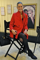 Amina Allam - Choies Red Wool Coat, Eram Leather Booties, Christian Dior Lady Bag, Cozbest Skull + Spike Earrings, H&M Black Knit Dress - Always wear your invisible crown
