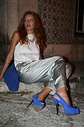 Joana Fernandes - Mango White Blouse, Mango Silk Pants, Zara Blue Heels, Zara Blue Clutch - Blending with the city streets