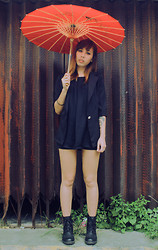 Iryn Maganis - Black Leather Boots, Black Blazer, Redhead Black Loose Sleeveless Top, Black Shorts, Red Umbrella From Hongkong - 20 - sunny day, wear black