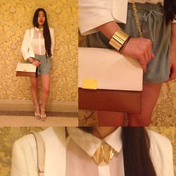 Fan Wan - Ralph Lauren Clutch, Mint Leather Shorts, We Golden Armlet, Zign Nude Plateau Heels, Nasty Gal Golden Necklace, Hallhuber White Blazer -  macao