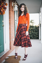 Ashlyn K - V Neck Sweater, Vintage Plaid Skirt - Giving Thanks
